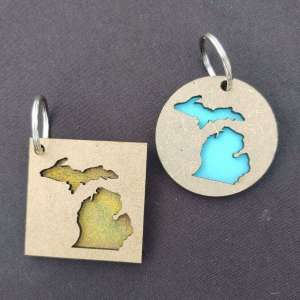Michigan Layered Wood Keychains Square Round
