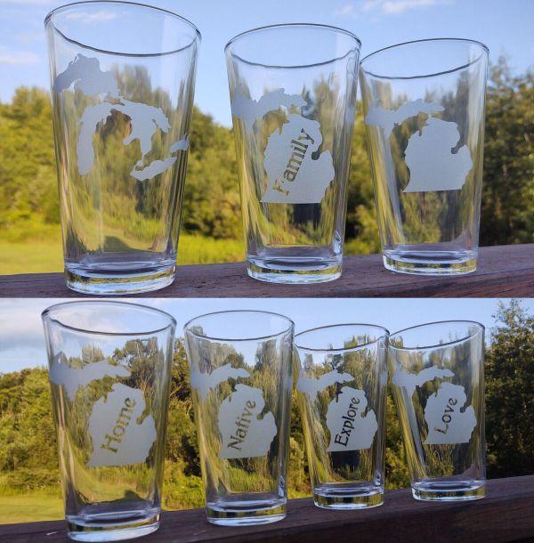 Michigan Theme Pint Glasses