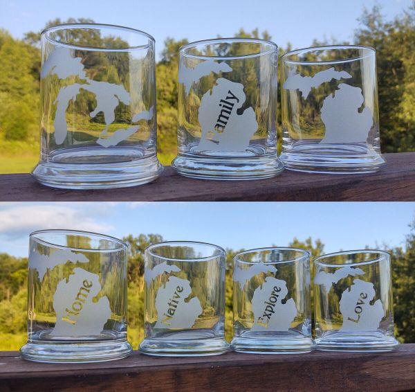 Michigan Theme Rocks Glasses