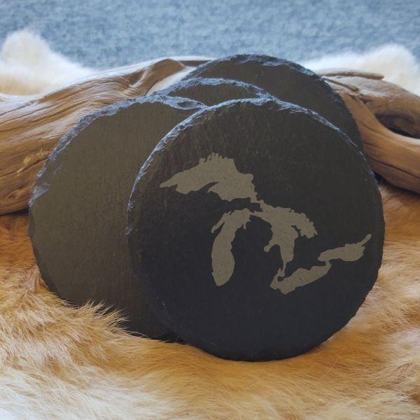 Slate Stone Michigan Great Lakes Coaster Set