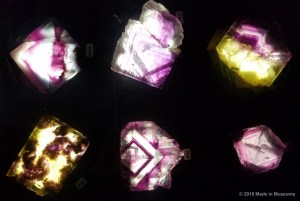 "Close-up of fluorite cross-sections where you can see the ""rings"" of how the crystal grew."