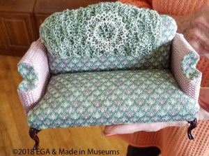 Doll house couch with hand embroidered coverings