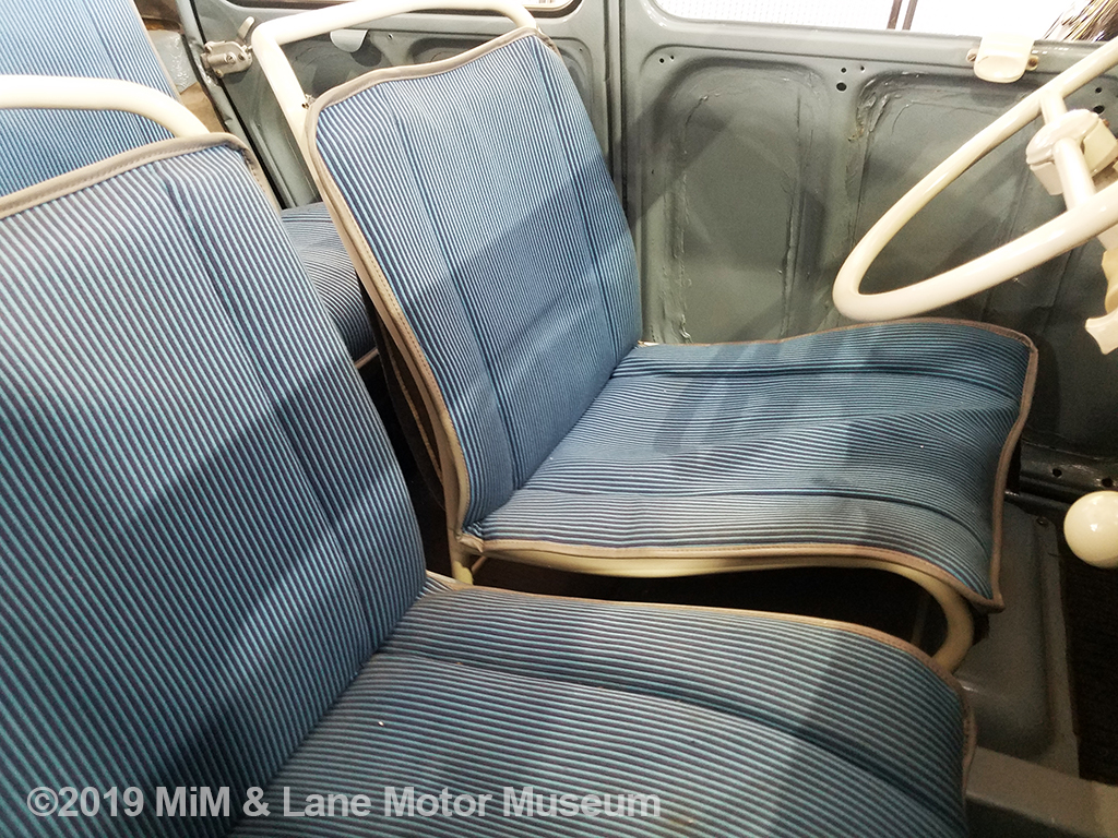 "A look inside the 2CV at the removable ""lawn chair"" seats"