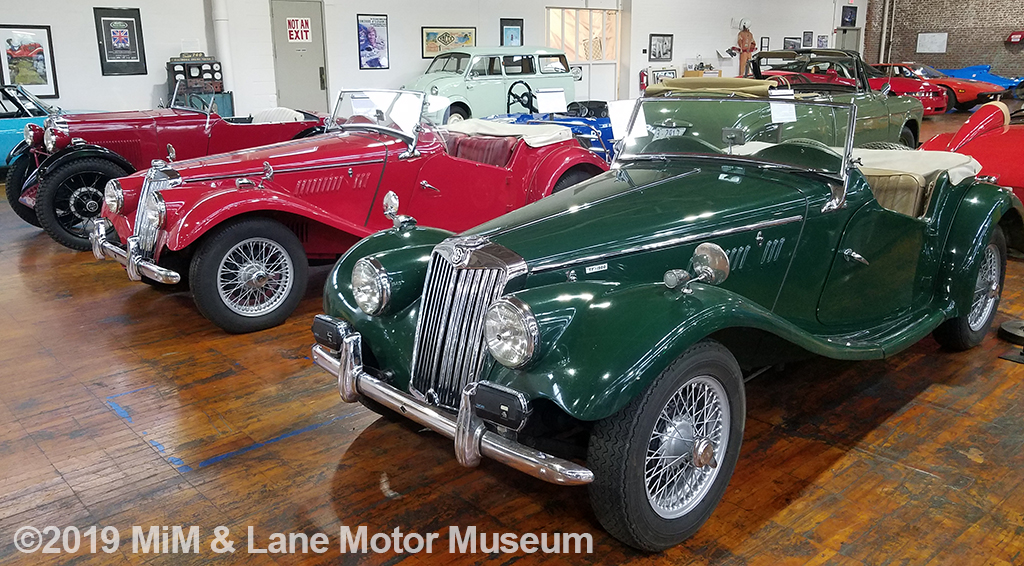 The green MG in the front is the museum founder's first classic car
