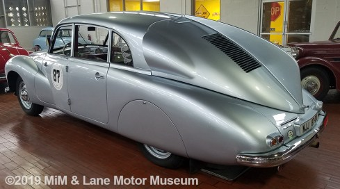 Silver Tatra car with rear fin