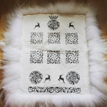 Double sheepskin rug, handmade