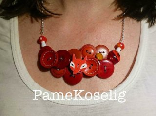 Red buttons and findings necklace.
