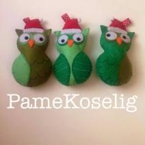 Trio of Christmas owls.