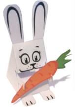 Papercraft imprimible de un conejo con su zanahoria. Manualidades a Raudales.