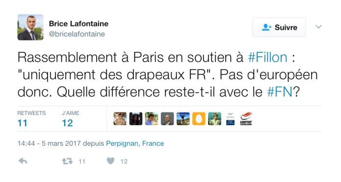Tweet de Brice Lafontaine du 5 mars