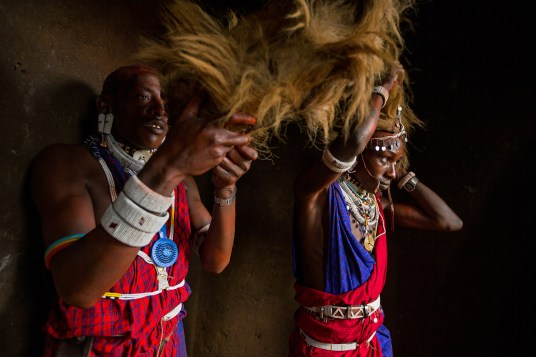 LOLIONDO, NORTHERN TANZANIA, NOVEMBER 2012: Images from a Masai coming –of-age ceremony in a remote Masai village in Loliondo, Northern Tanzania, 2 November 2012. Two of the young warriors in this ceremony are wearing a Lion Mane head-dress from a lion they speared 3 years ago. The Masai have a long history of lion-killing, both as a proving ground for young warriors in their ascent to manhood and also to protect their cattle from lion attacks. This is an illegal activity and 3 years ago a number of young warriors were arrested and jailed for this offence. Illegal lion killing continues amongst the Masai today, but as lion numbers dwindle, this activity is also increasingly rare to find. Conflict between the pastoralist Masai and the lion is an age-old phenomenon. (Photo by Brent Stirton/Reportage for National Geographic Magazine.)