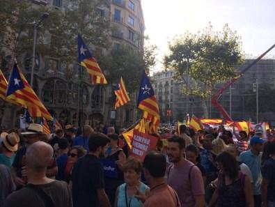Des drapeaux catalans flottent sur le cortège malgré le mot d'ordre
