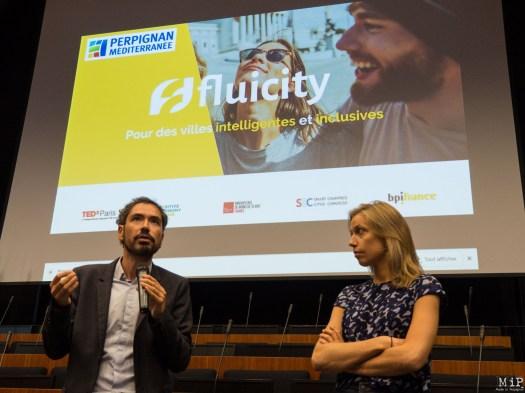 Olivier Amiel et Julie de Pimodan lors de la présentation de la plateforme Fluicity à Perpignan