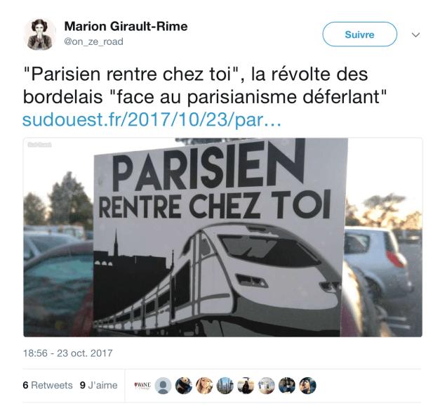 Tweet de la journaliste Marion Girault-Rime
