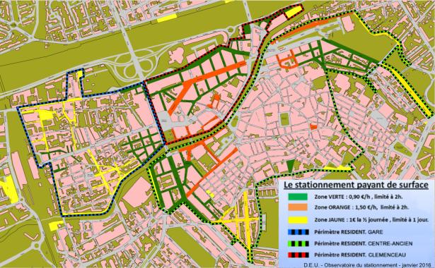 Plan des differentes zones de stationnement en centre ville