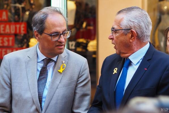 Quim Torra, Président de la Généralitat de Catalogne et Jean-Marc Pujol - Maire de Perpignan