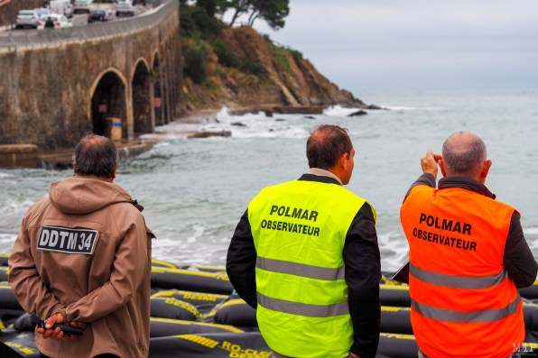 Exercice dépollution POLMAR à Banyuls-sur-mer - Pyrénées-Orientales