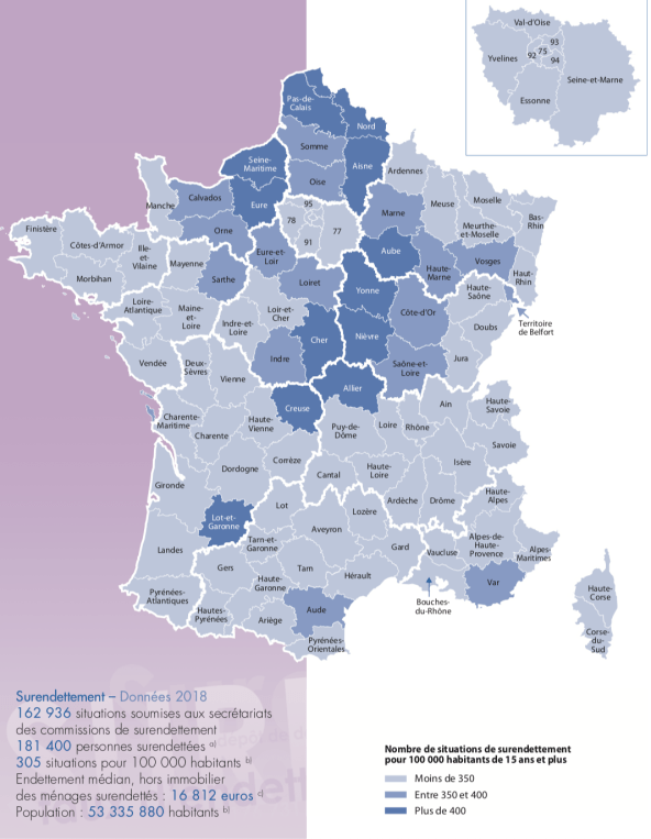 Situations de surendettement par département - Source Banque de France