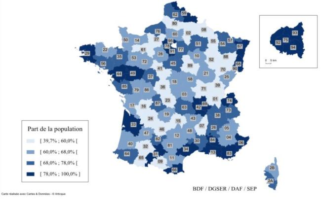 Part de la population couverte par les DAB par département