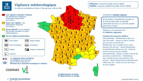 Carte vigilance Météo-France