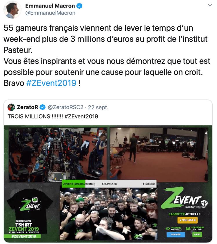 Tweet Macron Z Event 2019