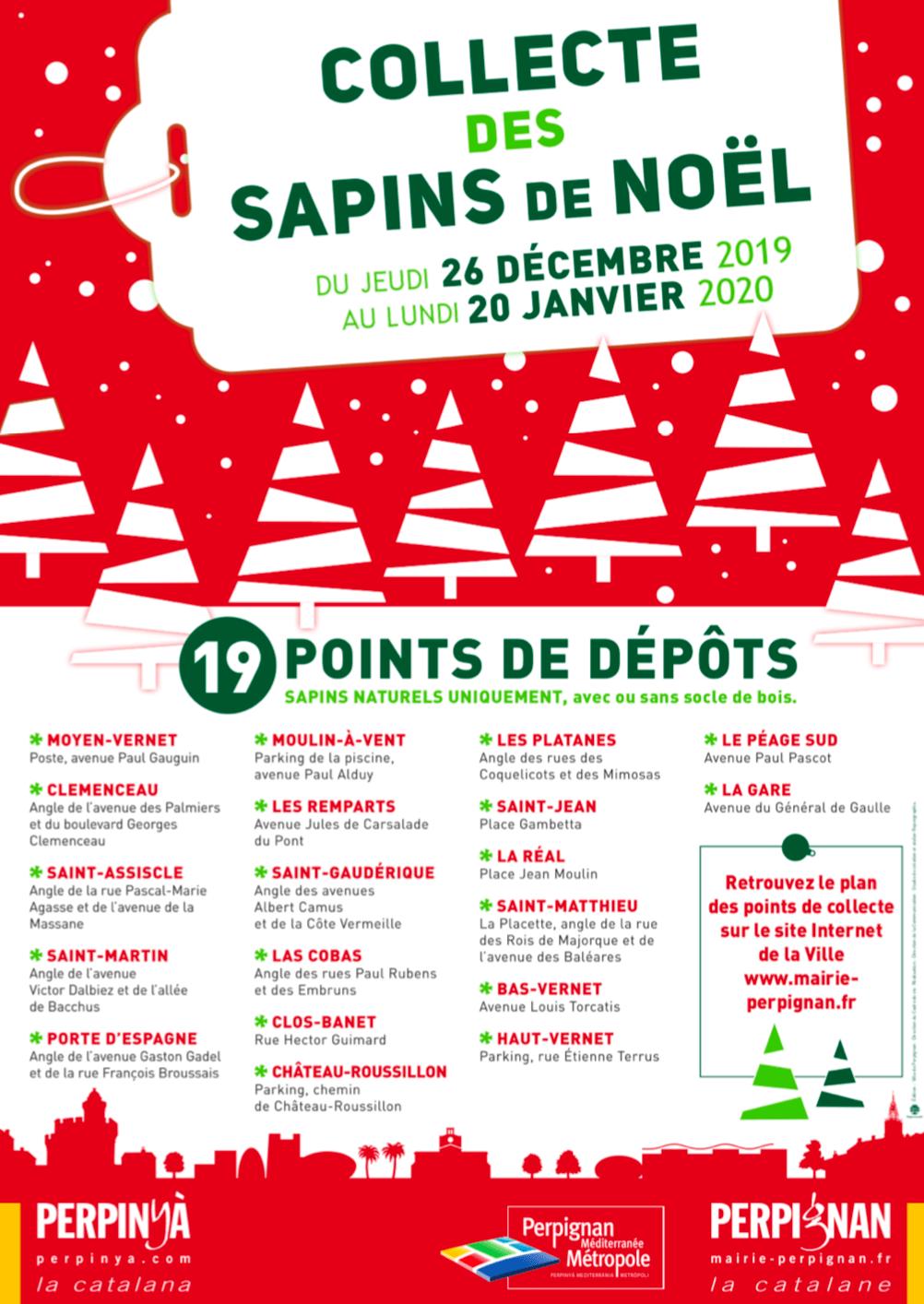 Collecte des sapins de Noël à Perpignan
