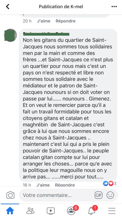 Commentaire sur une publication Facebook d'Alain Gimenez dit Nounours Saint-Jacques