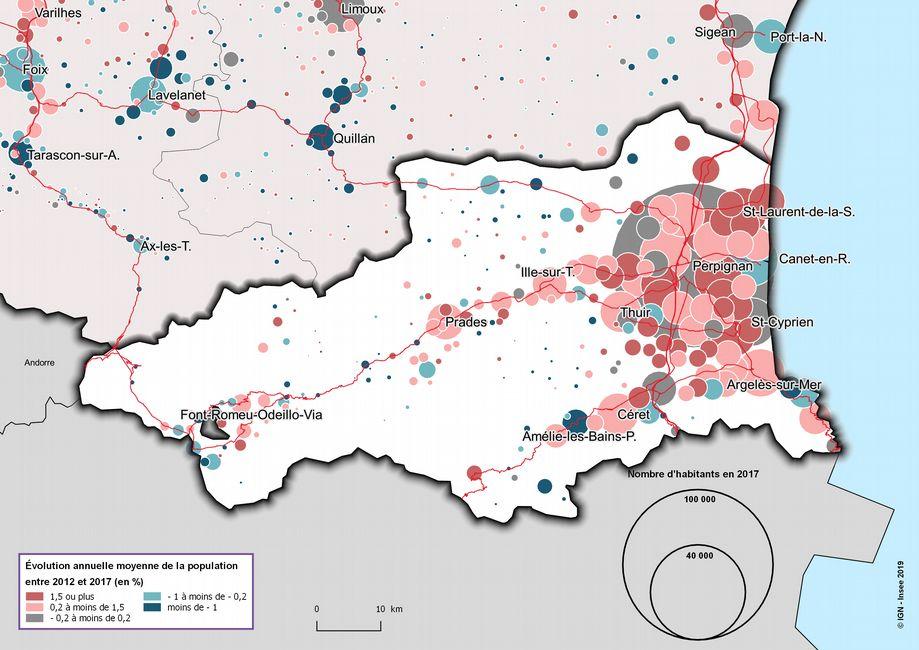Pyrénées-Orientales évolution annuelle moyenne entre 2012 et 2017 Population