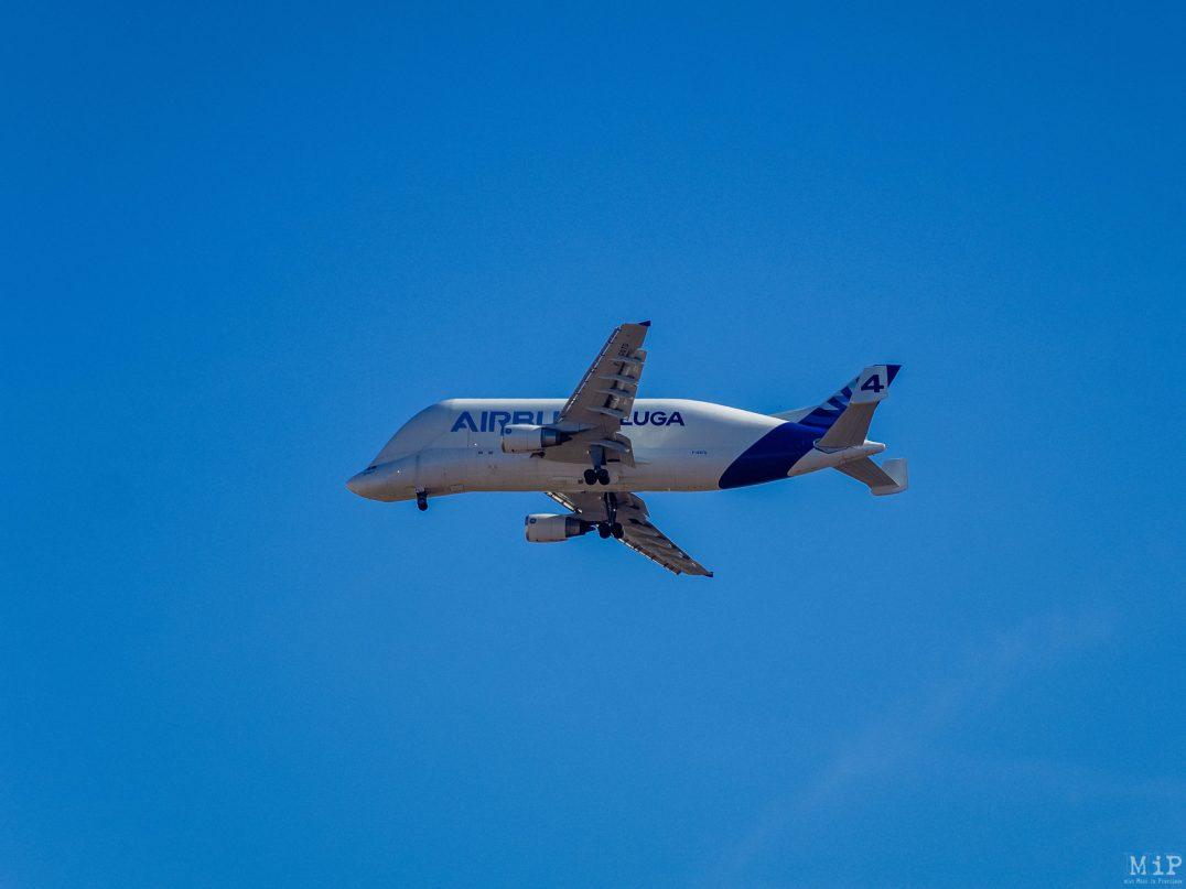 Avion Airbus Beluga 4 essai aéronautique au dessus de Perpignan