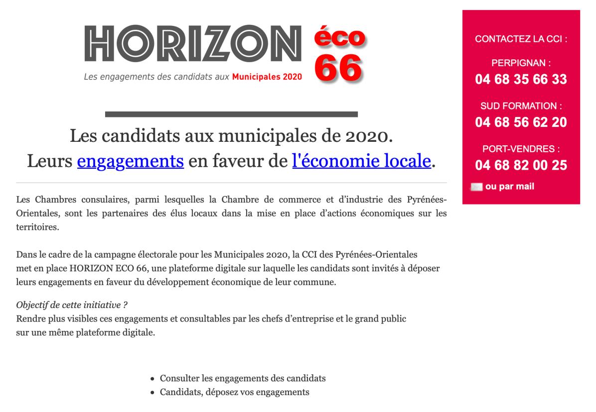Horizon Eco 66 économie campagne municipales 2020
