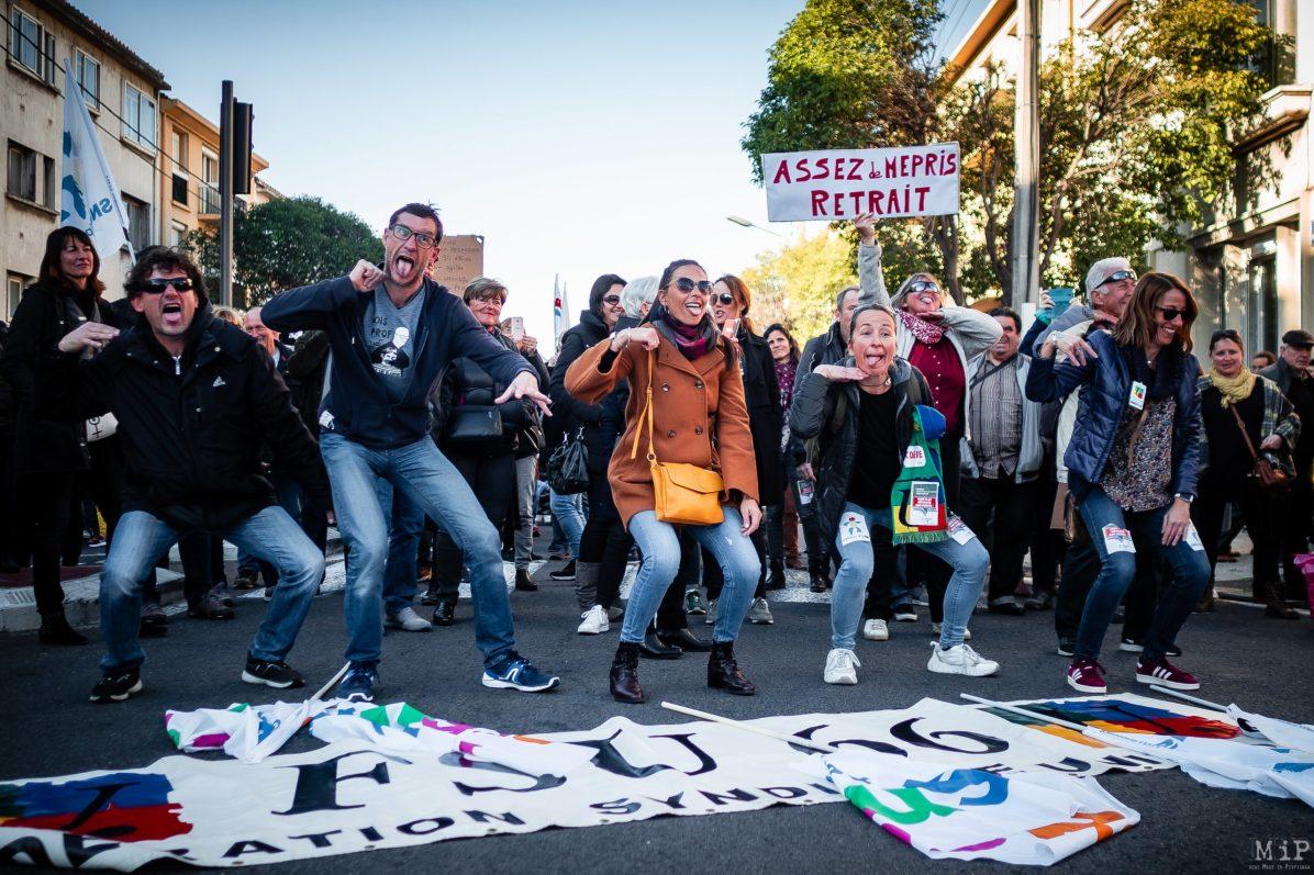 Manifestation contre la réforme des Retraites 9 janvier à Perpignan. Appel intersyndical et interprofessionnel