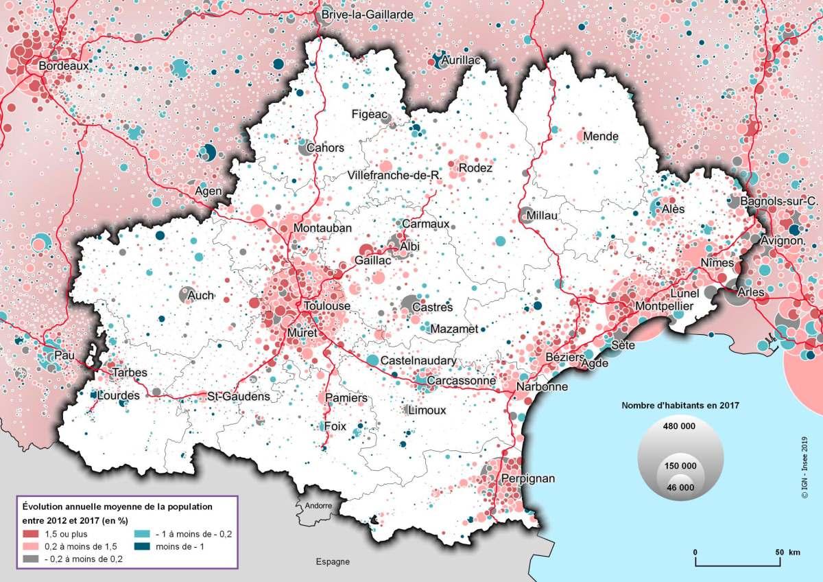 Région Occitanie évolution annuelle population entre 2012 et 2017