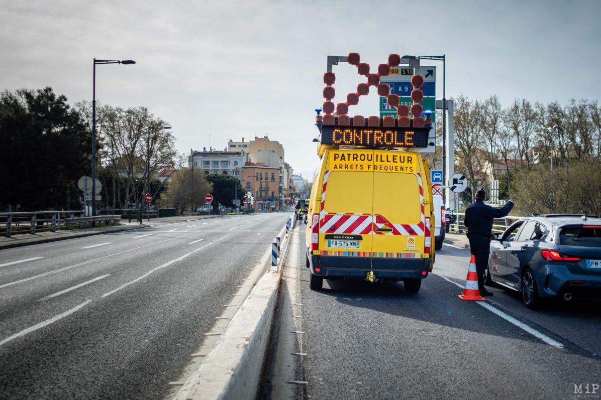 Illustrations Coronavirus Covid-19 contrôle forces de l'ordre Perpignan France © Arnaud Le Vu / MiP / APM
