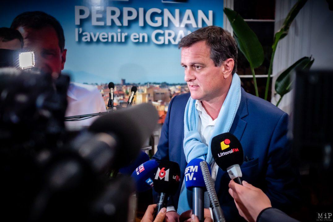 Perpignan, France, 15/03/2020 Louis Aliot Elections municipales 1er tour Perpignan Rassemblement National RN © Arnaud Le Vu / MiP / APM