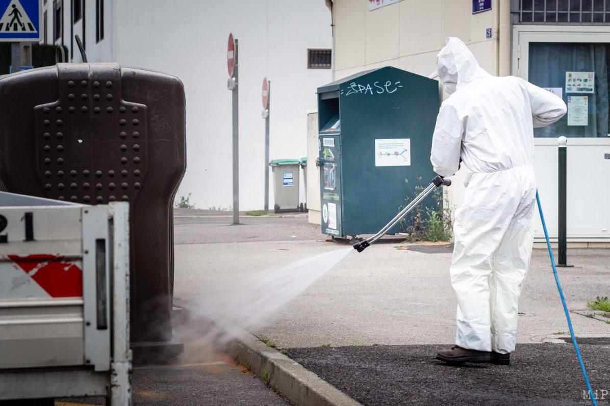 Illustration Perpignan France 10-04-2020 Nettoyage désinfection rue Coronavirus © Arnaud Le Vu / MiP / APM