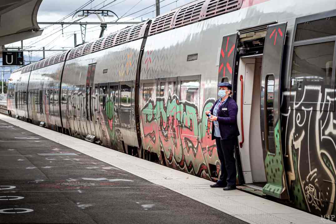 15/05/2020 Perpignan, France, Illustration SNCF Covid-19 mesures de distanciation sociale © Arnaud Le Vu / MiP