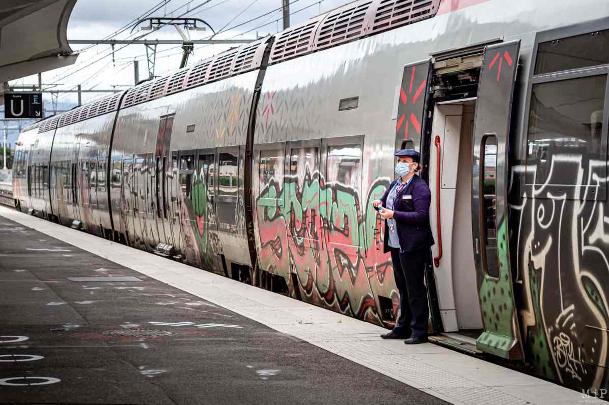 15/05/2020 Perpignan, France, Illustration SNCF Covid-19 mesures de distanciation sociale © Arnaud Le Vu / MiP