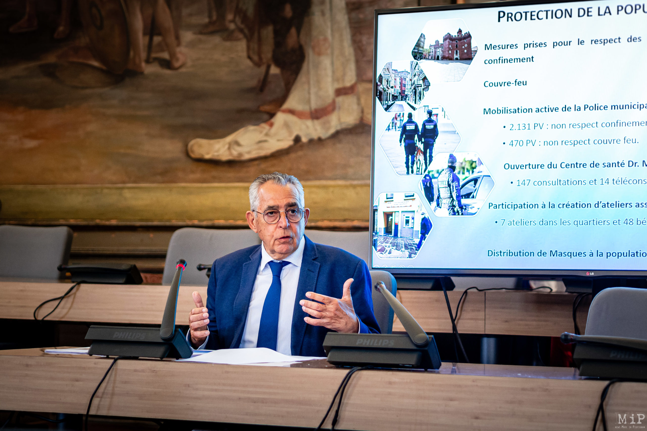 Conseil municipal mairie de Perpignan conférence de presse Pujol Aliot © Arnaud Le Vu / MiP / APM