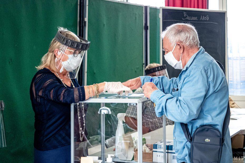 28/06/2020, Perpignan, France, Elections Municipales votes de Louis Aliot et Jean-Marc Pujol 2nd tour © Arnaud Le Vu / MiP / APM