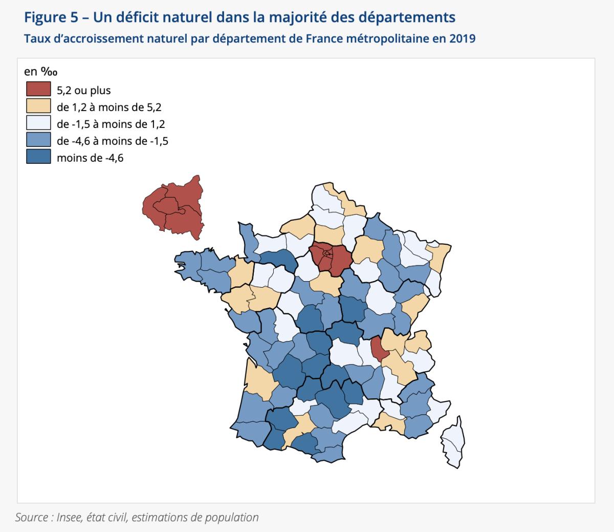 Taux d'accroissement naturel par département en France