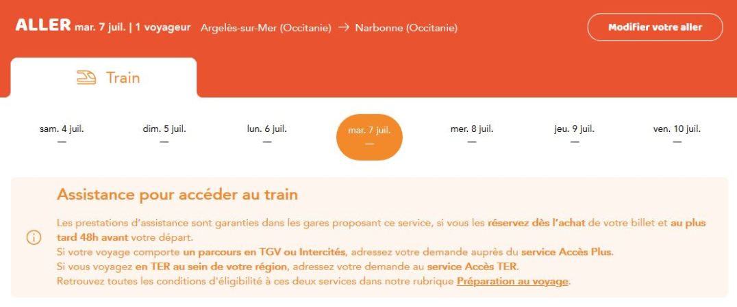 Train reservation handicapée