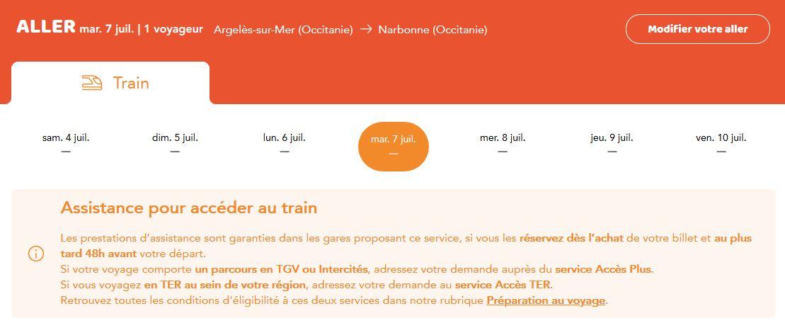 Train reservation handicapée