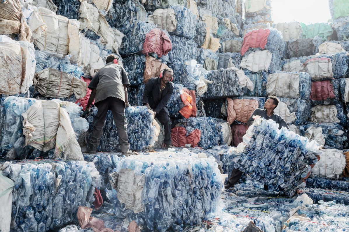 ETHIOPIA - RECYCLING PLASTIC Coba Impact workers prepare plastic bottles for recycling in which they will become PET flakes used for preform plastic bottles, in Addis Ababa, Ethiopia, on Feb. 1, 2019. © Alessandro Penso / MAPS