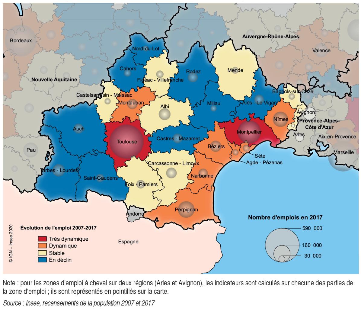 Dynamique des zones d'emploi en Occitanie INSEE