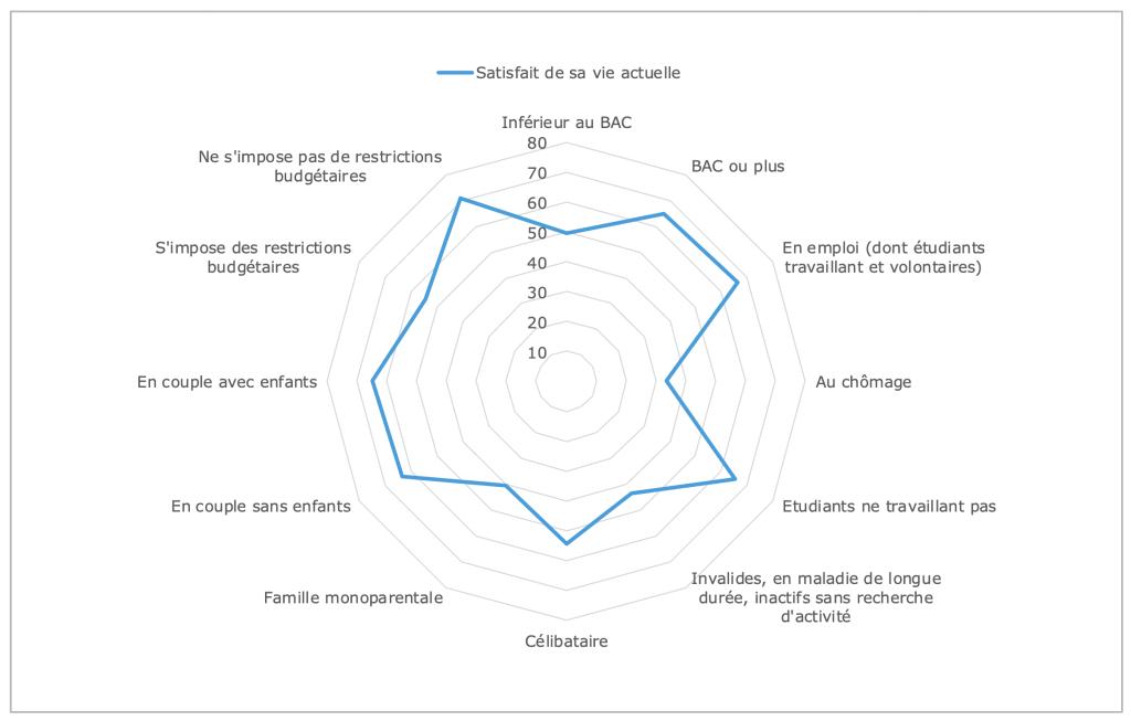 Positionnement à l'égard de sa vie selon le niveau de diplome, le statut d'activité, le statut familial et le sentiment de restriction budgétaire (en %) © Source : INJEP-CREDOC, Baromètre DJEPVA sur la jeunesse, 2019