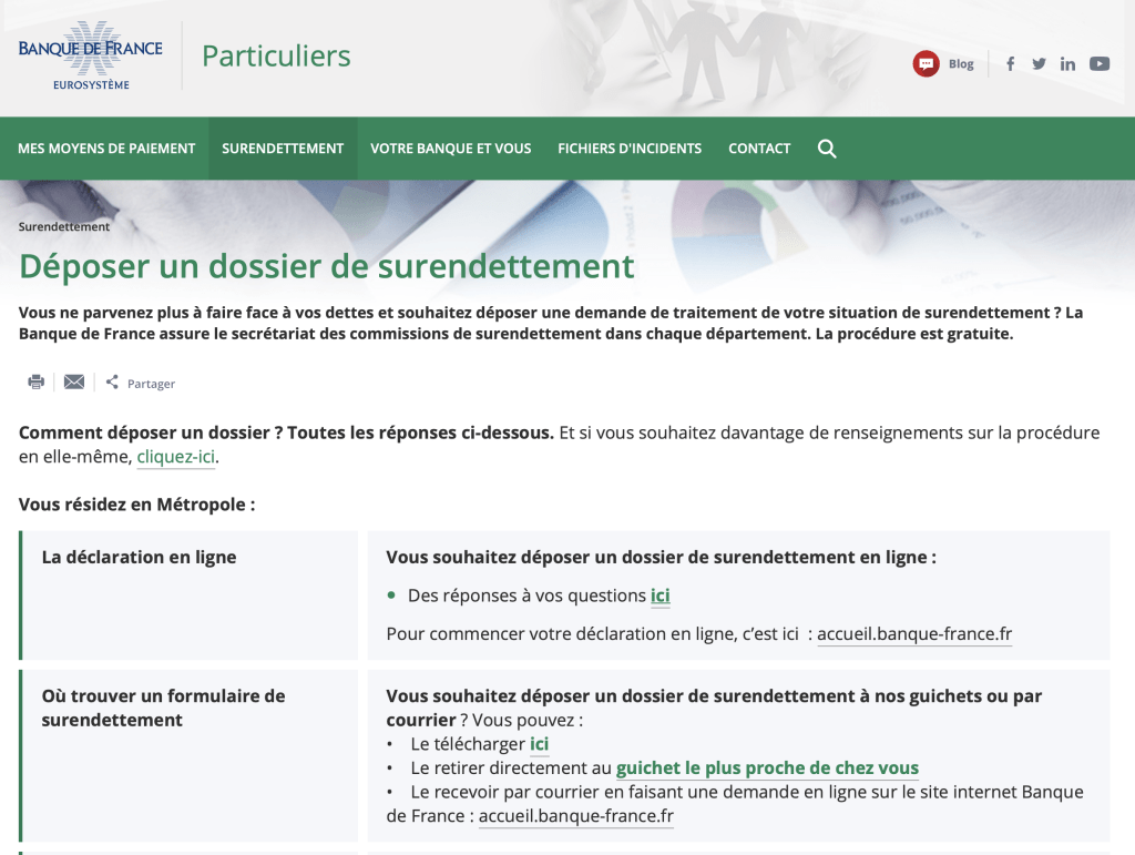Site Banque de France - Interface surendettement