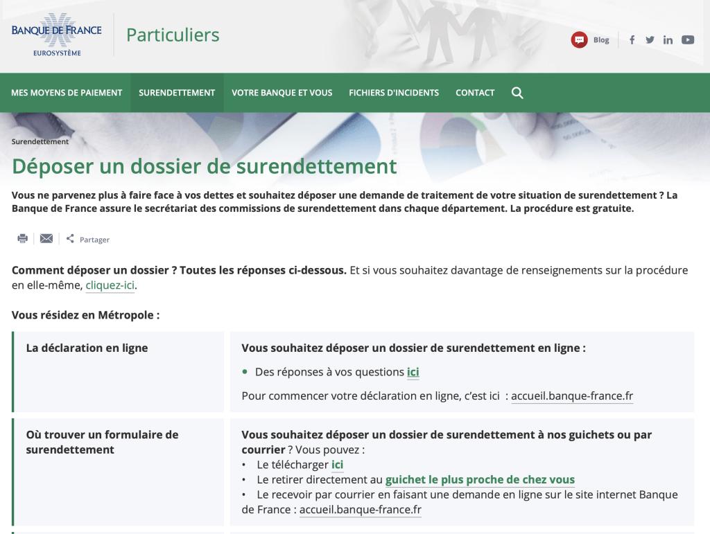 Site Banque de France - Interface surendettement