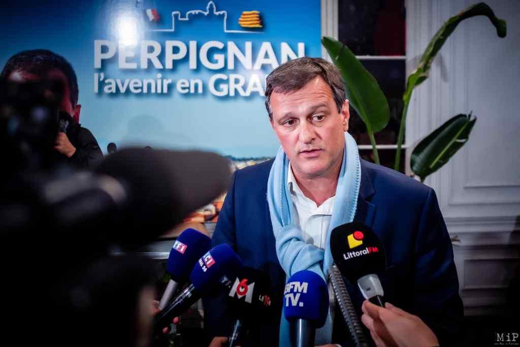 Perpignan, France, 15/03/2020 Louis Aliot Elections municipales 1er tour Perpignan Rassemblement National RN © Arnaud Le Vu / MiP
