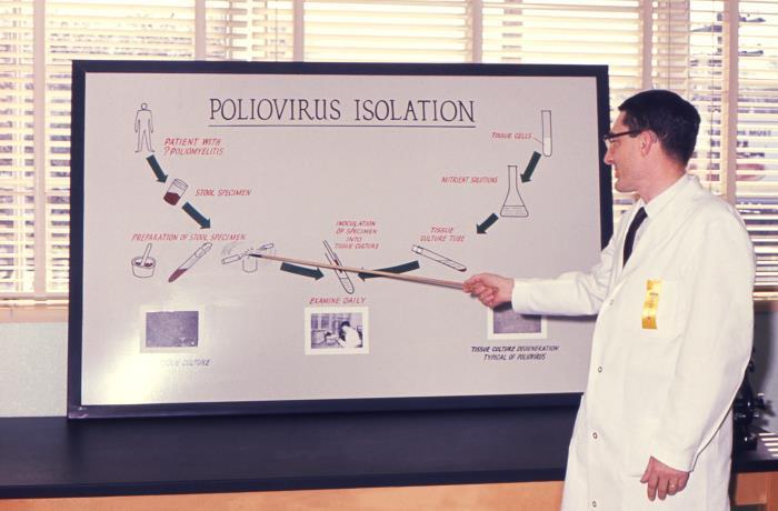 Un scientifique de la santé publique en train d'expliquer une présentation réalisée afin d'expliquer les techniques de laboratoire utilisées pour l'isolement du poliovirus.1961 © CDC PHIL Wallace Richter