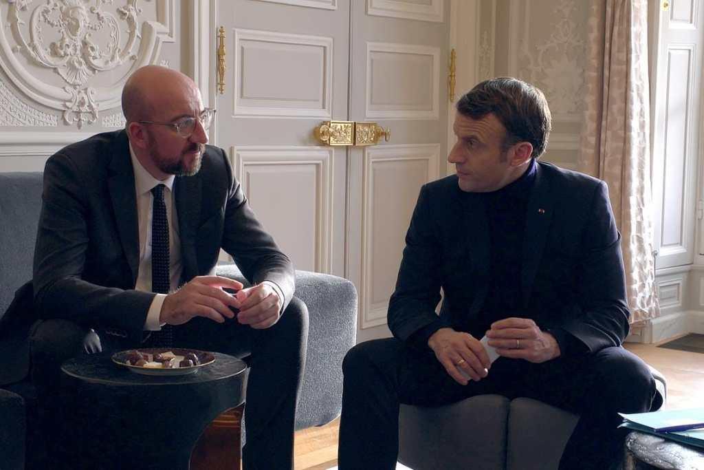 Charles Michel et Emmanuel Macron © Check Productions avec LCP, la RTBF et France Télévisions.